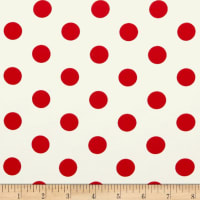 Double Brushed Poly Jersey Knit Medium Polka Dot Red/Ivory
