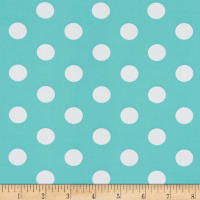 Double Brushed Poly Jersey Knit Medium Polka Dot Ivory/Mint