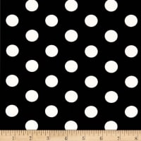 Double Brushed Poly Jersey Knit Medium Polka Dot Ivory/Black