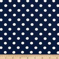 Double Brushed Poly Jersey Knit Small Polka Dot White/Navy