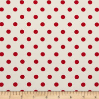 Double Brushed Poly Jersey Knit Small Polka Dot Red/Ivory