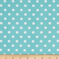 Double Brushed Poly Jersey Knit Small Polka Dot Ivory/Mint
