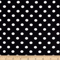 Double Brushed Poly Jersey Knit Small Polka Dot Ivory/Black