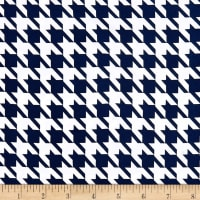 Double Brushed Poly Jersey Knit Houndstooth Navy/White
