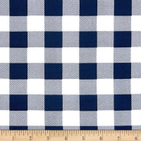 Double Brushed Poly Jersey Knit Medium Plaid Navy/White