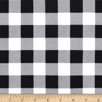 Double Brushed Poly Jersey Knit Medium Plaid Black/White
