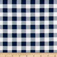Double Brushed Poly Jersey Knit Small Plaid Navy/White