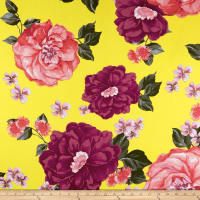Double Brushed Poly Jersey Knit Large Floral Pink/Yellow