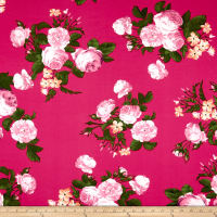 Double Brushed Poly Jersey Knit English Roses Pink/Fuschia
