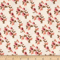 Double Brushed Poly Jersey Knit Mini Floral Blush/Ivory
