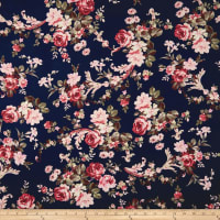 Double Brushed Poly Jersey Knit Rose Garden Blush/Navy