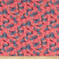 Susan Winget Patriotic Flag Toss Digital Woven Blue