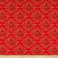 Susan Winget Bohemian Rooster Rooster Scroll Digital Woven Red