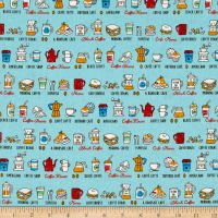 Cosmo Breakfast Club II Breakfast Items Sheeting Light Blue