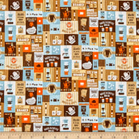 Cosmo Breakfast Club II Coffee Signs Patch Sheeting Brown/Orange