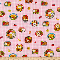 Cosmo Kyraben Food Animals Oxford Window Pane Light Pink