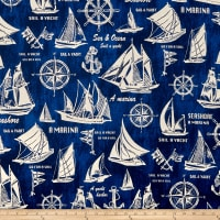 Cosmo Sea & Ocean Schooner Cotton/Linen Canvas Navy
