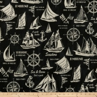 Cosmo Sea & Ocean Schooner Cotton/Linen Canvas Black
