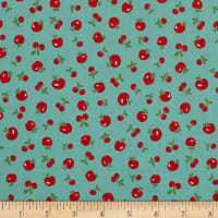 Lecien Retro 30's Child Smile 2018 Tossed Apple's & Cherries Green