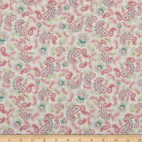 Lecien Woodland Rose Scattered Paisleys White