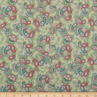 Lecien Woodland Rose Scattered Paisleys Green