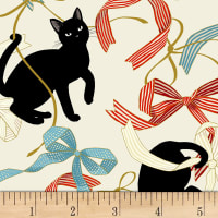 Quilt Gate Neko IV Metallic Cats And Bows Natural