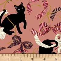 Quilt Gate Neko IV Metallic Cats And Bows Pink