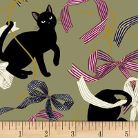Quilt Gate Neko IV Cats And Bows Metallic Sage