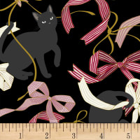 Quilt Gate Neko IV Metallic Cats And Bows Black