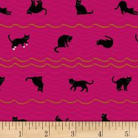 Quilt Gate Neko IV Metallic Cat Roof Stripe Hot Pink