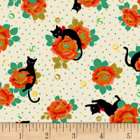 Quilt Gate Neko IV Metallic Cats In The Rose Garden  Natural