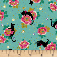 Quilt Gate Neko IV Cats In The Rose Garden Metallic Green
