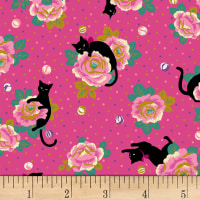 Quilt Gate Neko IV Metallic Cats In The Rose Garden  Pink