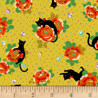 Quilt Gate Neko IV Cats In The Rose Garden Metallic Yellow