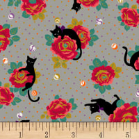 Quilt Gate Neko IV Metallic Cats In The Rose Garden  Gray