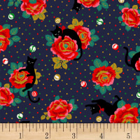 Quilt Gate Neko IV Metallic Cats In The Rose Garden  Navy