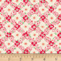 Quilt Gate Ruru Bouquet Florette Floral Lattice White/Red