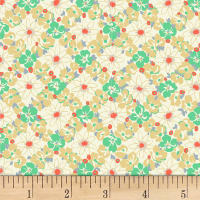 Quilt Gate Ruru Bouquet Florette Floral Lattice Tan/Green