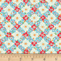 Quilt Gate Ruru Bouquet Florette Floral Lattice Blue/Red