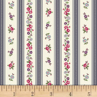 Quilt Gate Ruru Bouquet Florette Floral Stripe Dark Gray