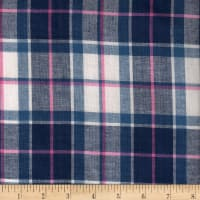 Madras Yarn-Dyed Plaids Navy/Pink/White