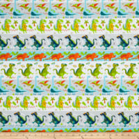 Fabric Editions Jurassic Journey Dino Stripe