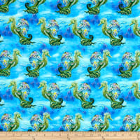 Fabric Editions Mystic Ocean Mermaids Blue