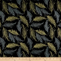 Hoffman Sparkle & Fade Feathers Metallic Black