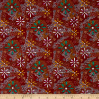 M&S Textiles Flowers in the Desert Red