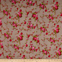 Rayon Challis English Roses Fuchsia/Gray