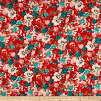 Rayon Challis Tropical Floral Teal/Red