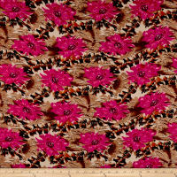 Rayon Challis Abstract Floral Fuchsia/Brown