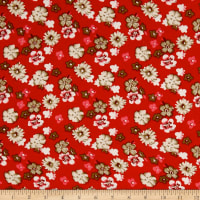 Rayon Challis Multi Floral Ivory/Red