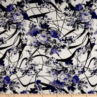 Rayon Challis Forest Roses Purple/Ivory